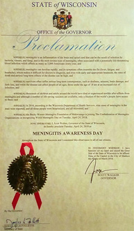 Wisconsin Proclamation: Meningitis Day 2016
